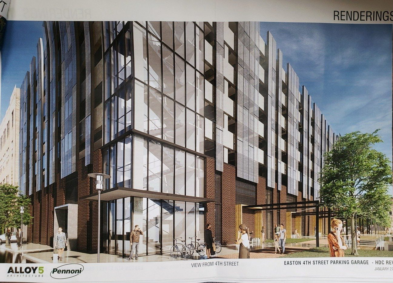Architectural rendering of the proposed 4th and Church Street parking garage